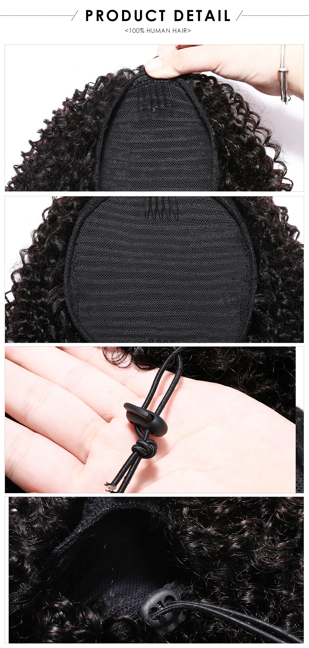 kinky curly Afro Puff drawstring ponytail