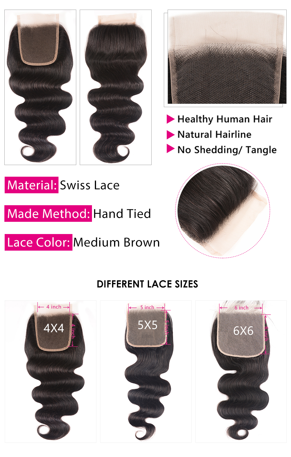 Body wave 5x5 closure