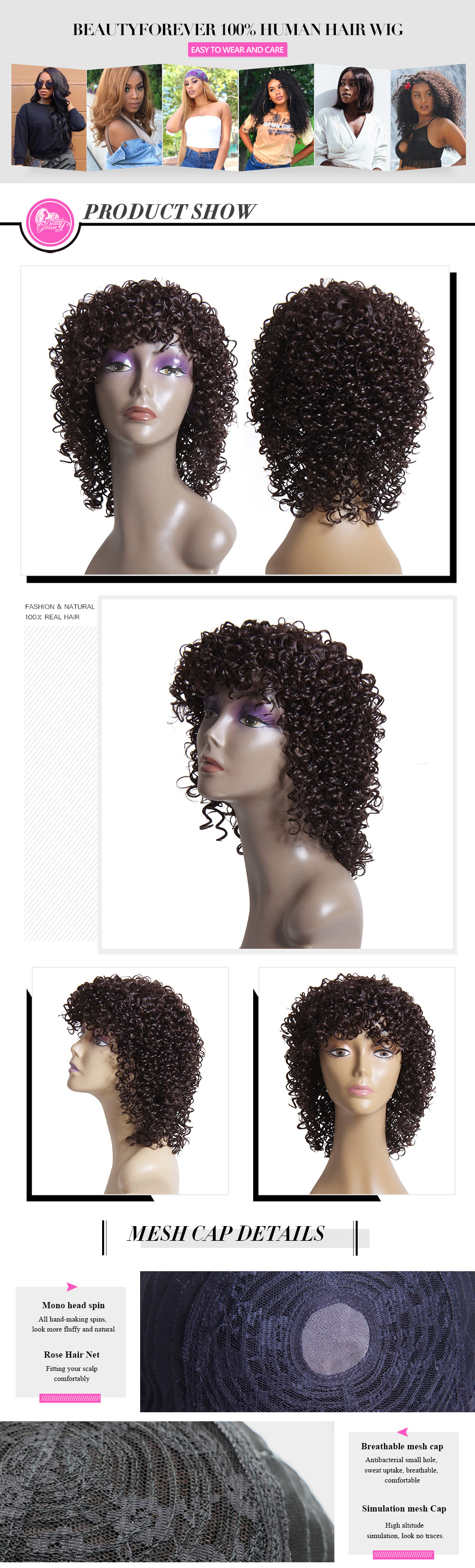Beautyforever Real Curly Human Hair Wigs 3 Colors
