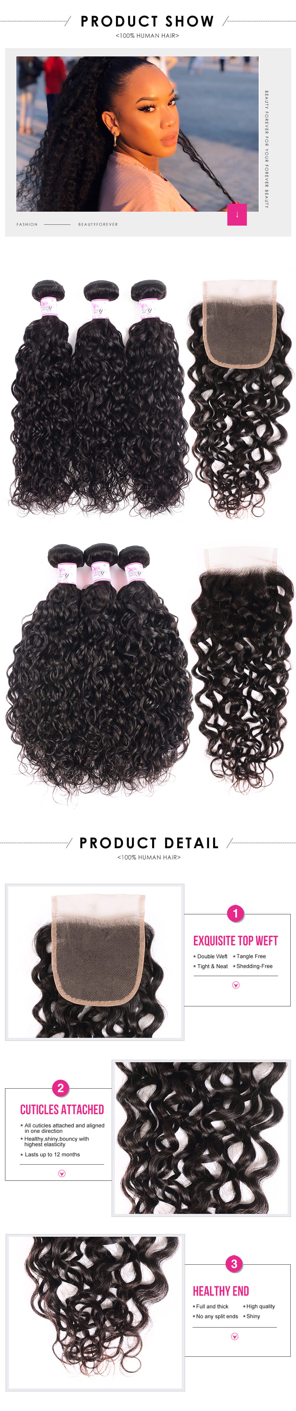 Loose Water Wave Hair 4x4 Lace Closure