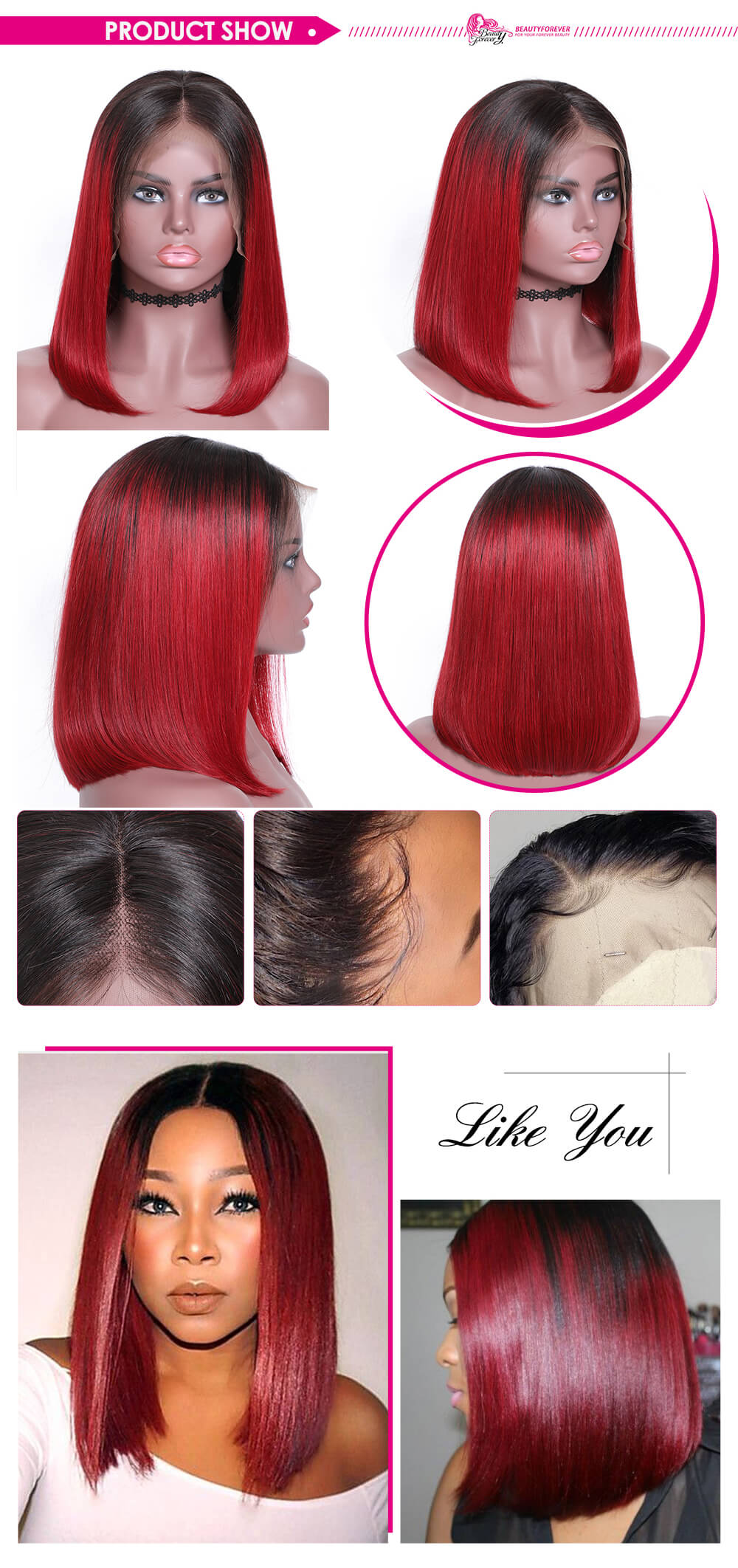 Ombre Black To Red Color Short Straight Bob