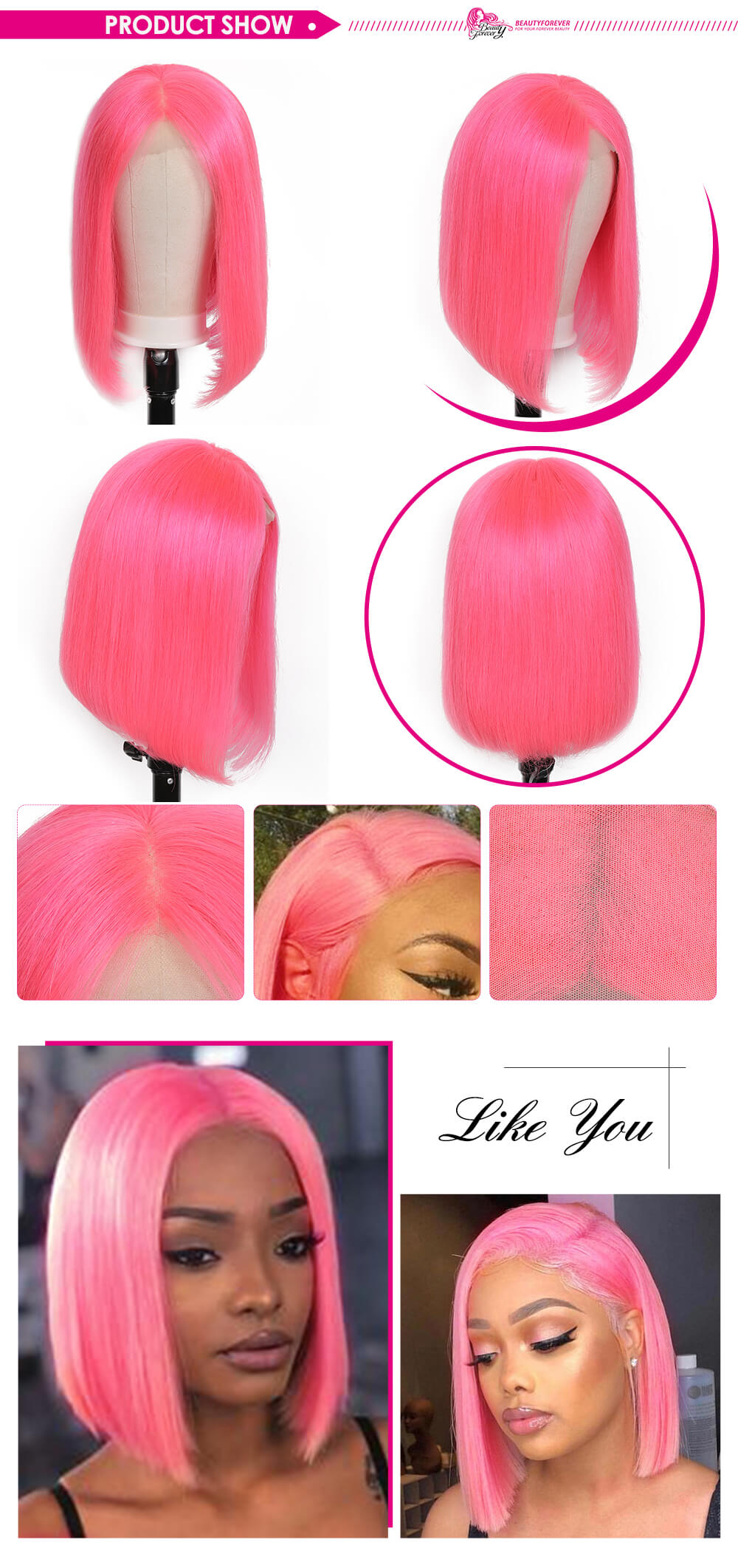 Short Straight Pink Bob 13x4 Lace Front Wigs