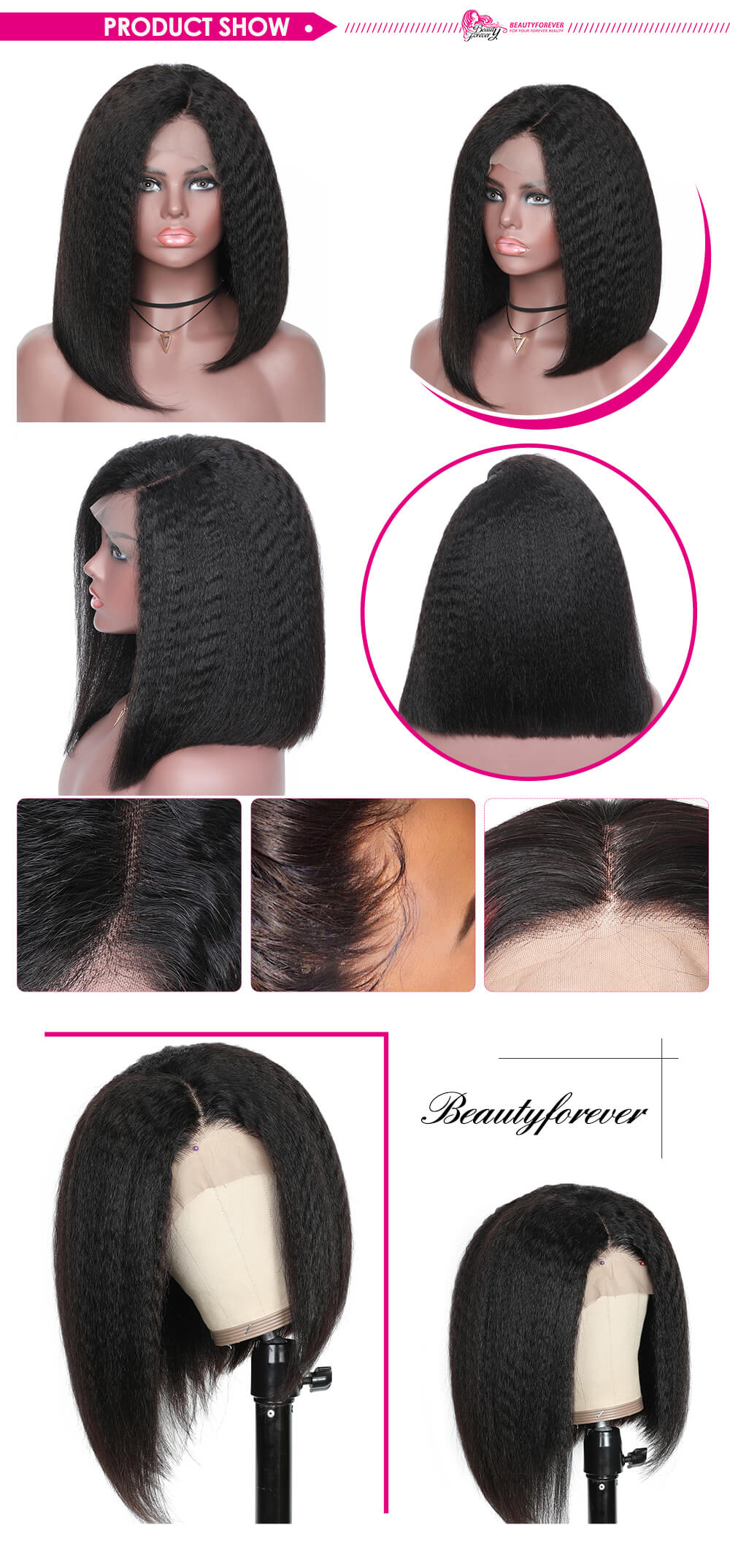 Kinky Straight Bob Wig 13x4 Lace Front Wigs