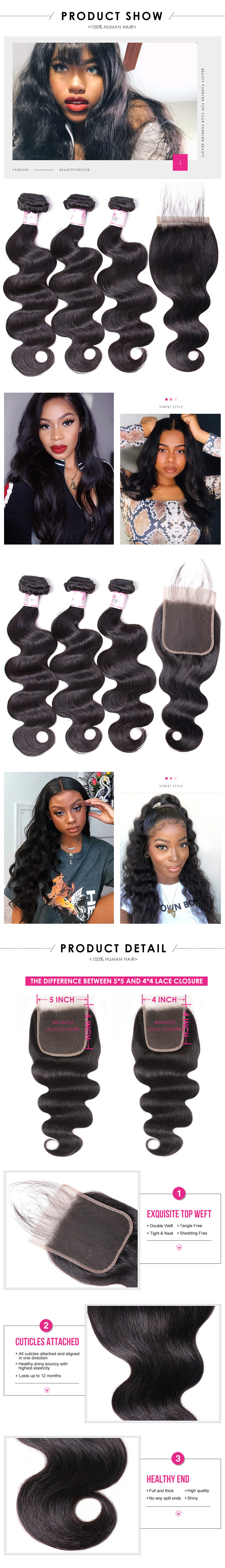 3 Bundles With 5x5 Lace Closure
