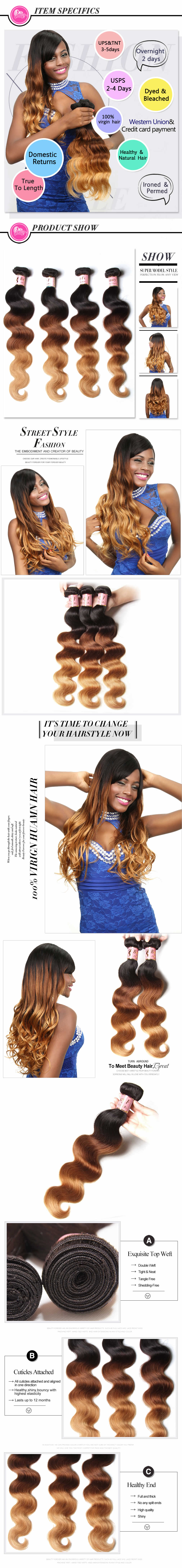Ombre 7A Indian Hair Weave