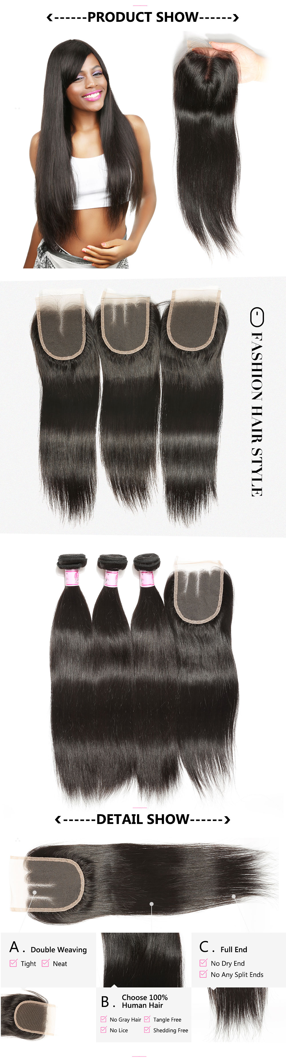 Peruvian straight hair 3bundles with closure