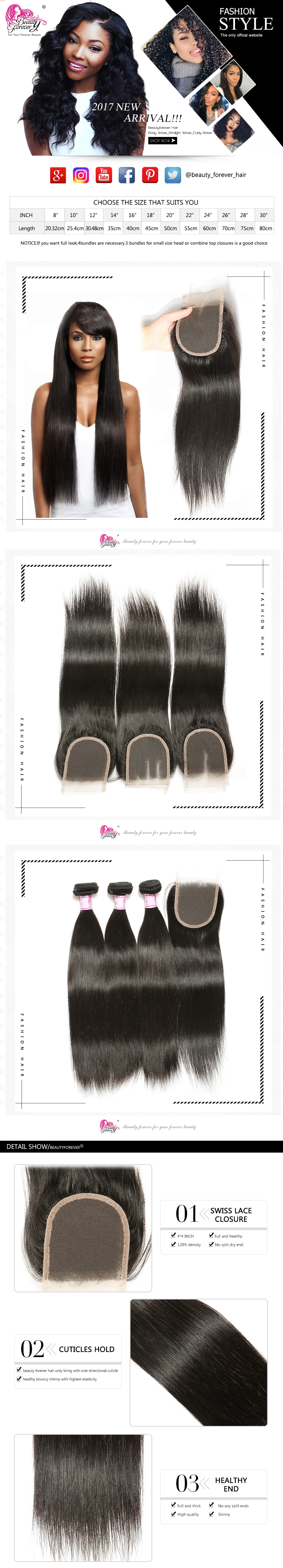 Brazilian 3Bundles With Lace Closure