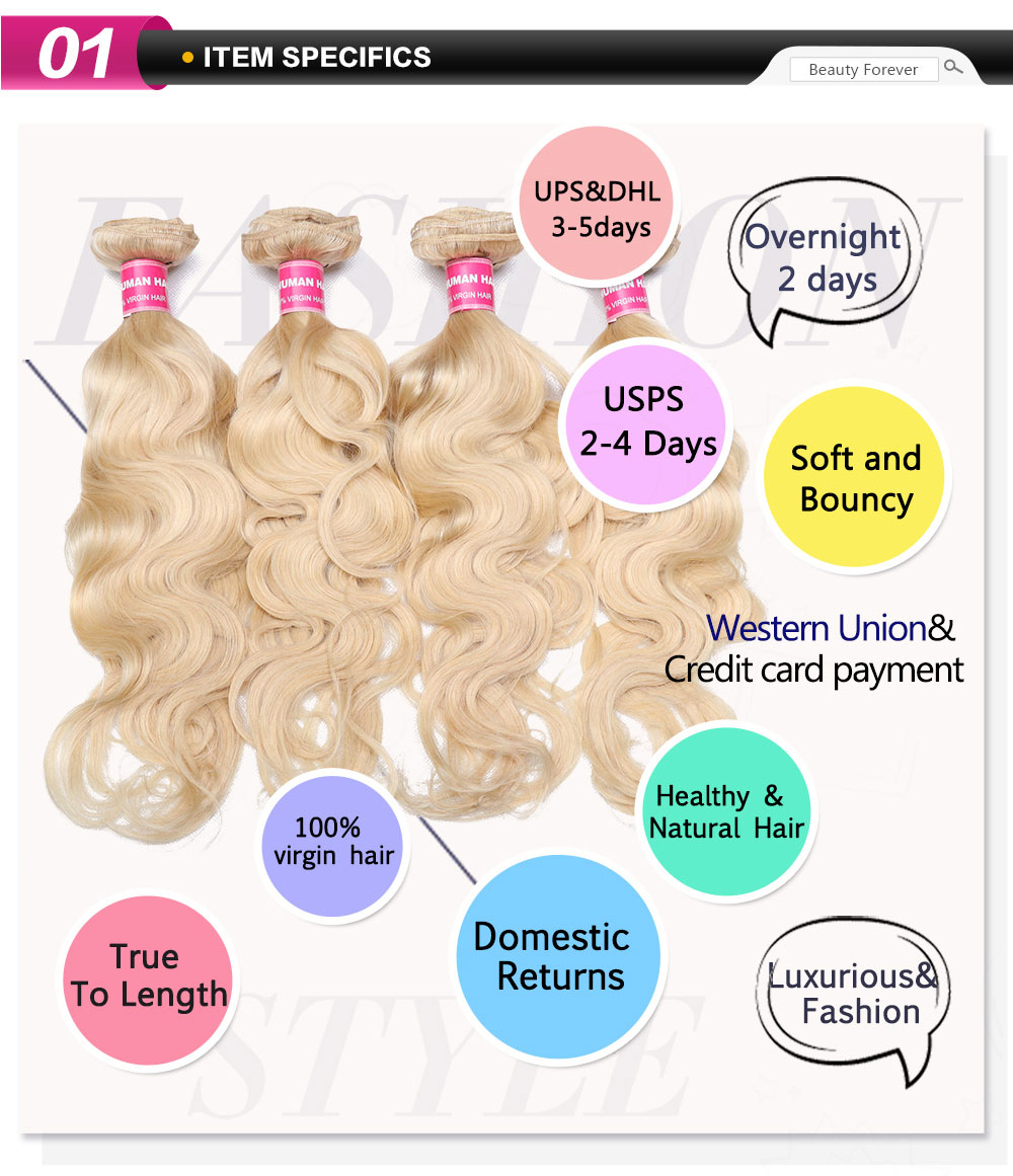 Blonde Hair Weave Extensions 4 Bundles