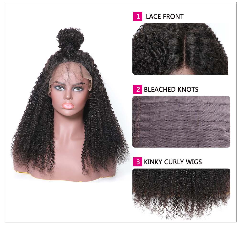 13x6 Lace Front Kinky Curly 150% Density Human Hair Wigs