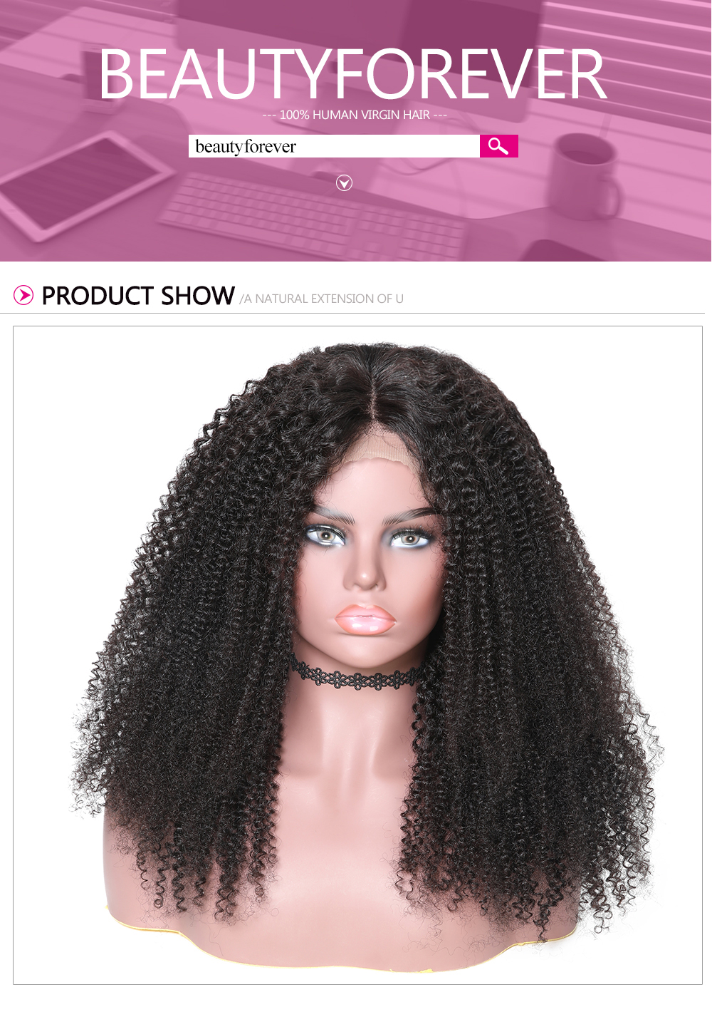 360 Lace Frontal Kinky Curly 150% Density Human Hair Wigs