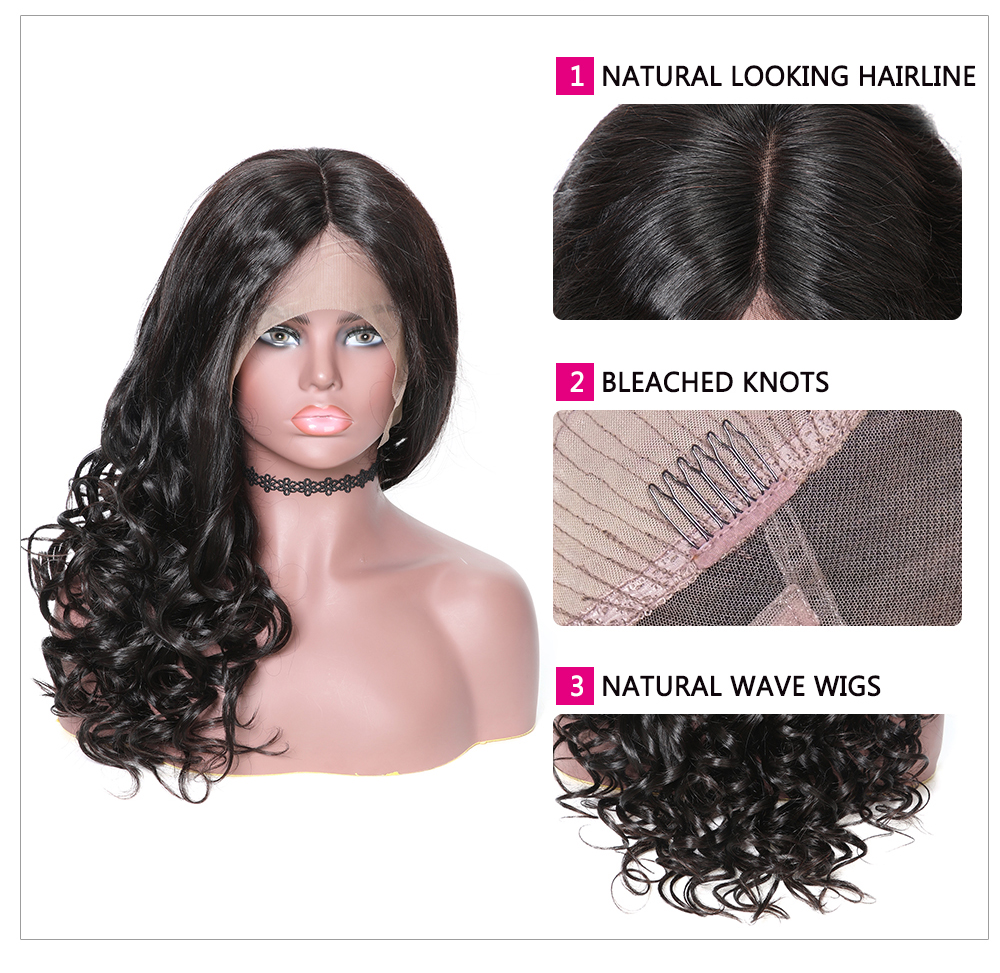 360 Lace Frontal Long Natural Wave 180% Density Human Hair Wigs