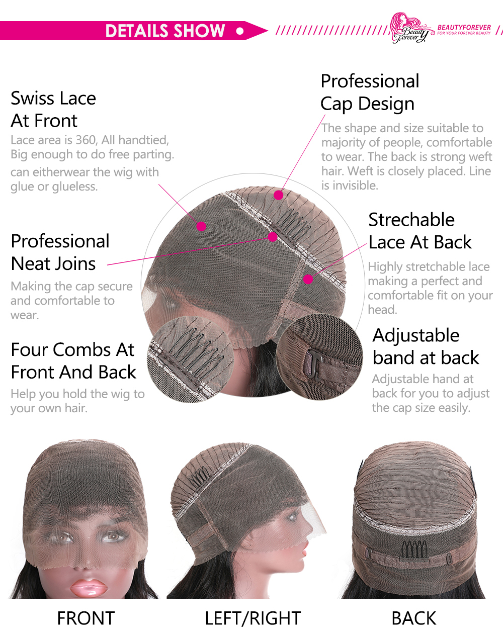 Pre-plucked Straight Lace Front Wigs