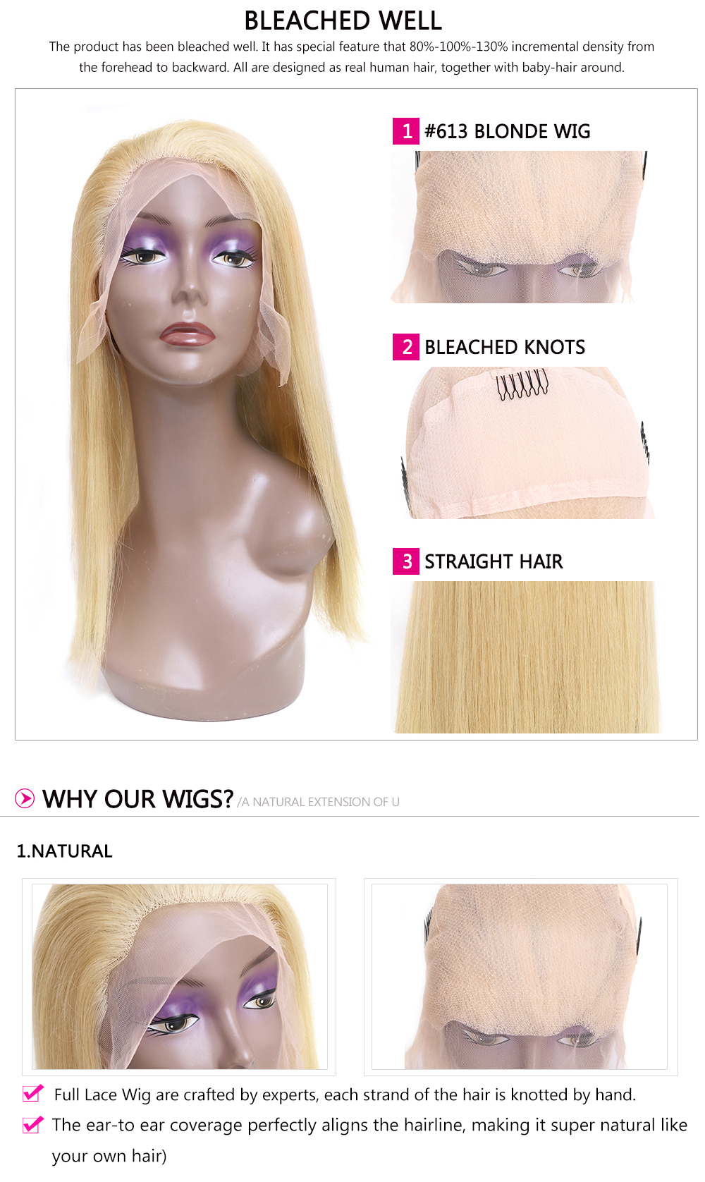 Pre-plucked Blonde Full Lace wigs