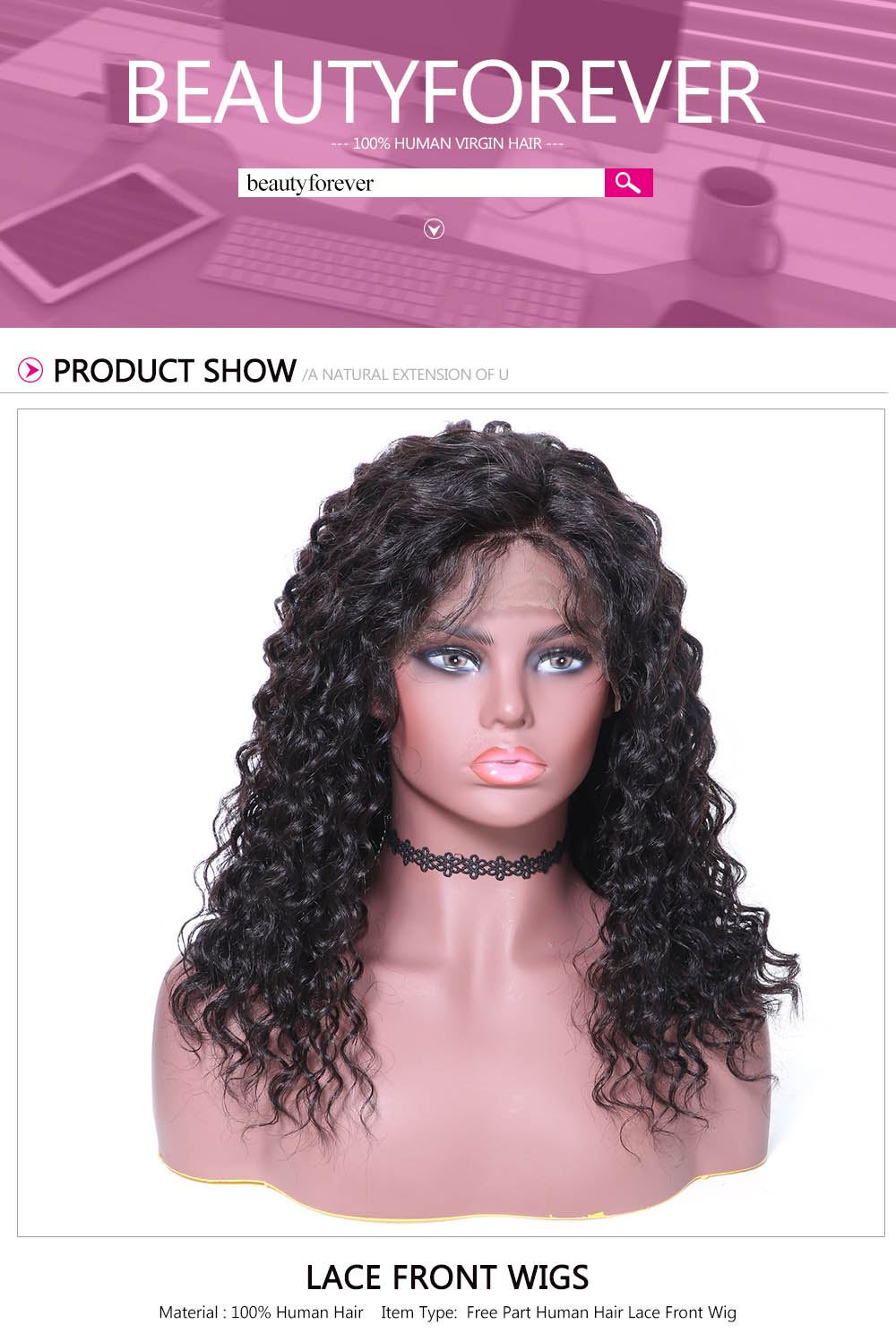 Beautyforever Easy Installed Long Water Wave Lace Front Human Hair Wigs With Baby Hairs 4 Colors