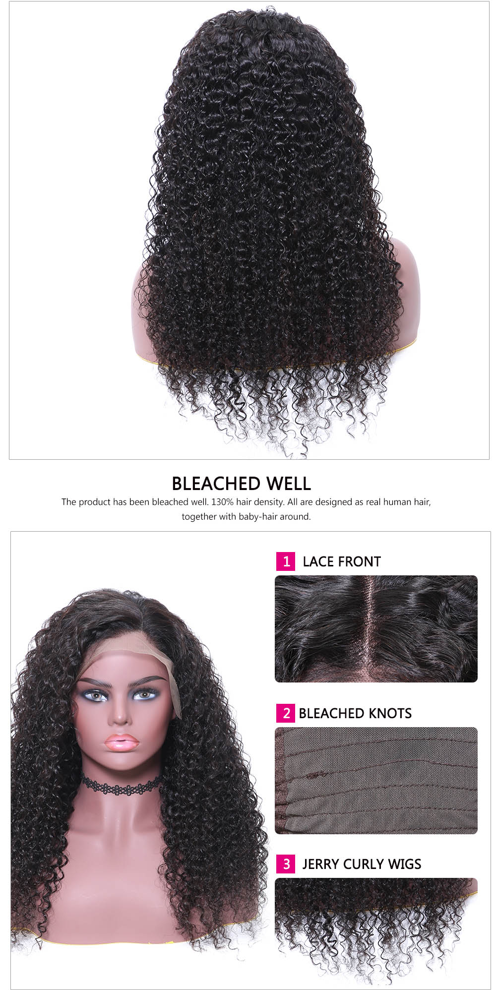Beautyforever High Quality Long Jerry Curly Human Hair Lace Front Wig Free Part Natural Hairline