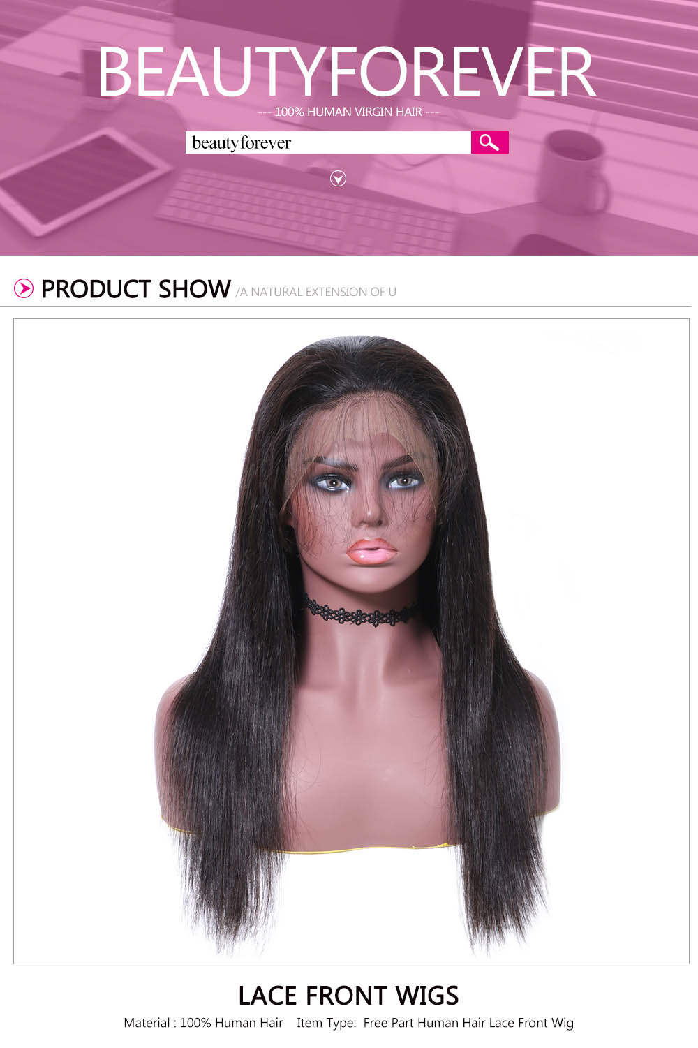 Beautyforever Pre-Plucked Long Straight Virgin Hair Lace Front Wig With Baby Hair