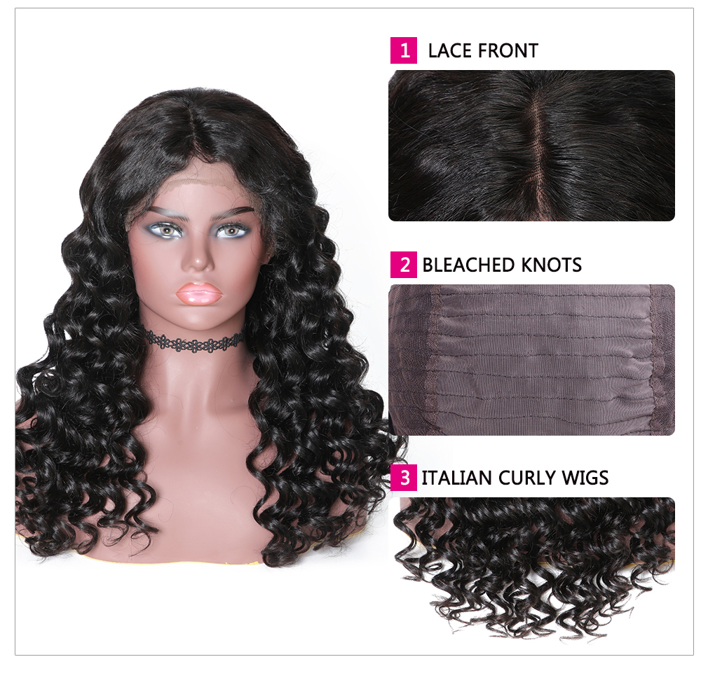 Lace Front Italian Curly 150% Density Human Hair Wigs