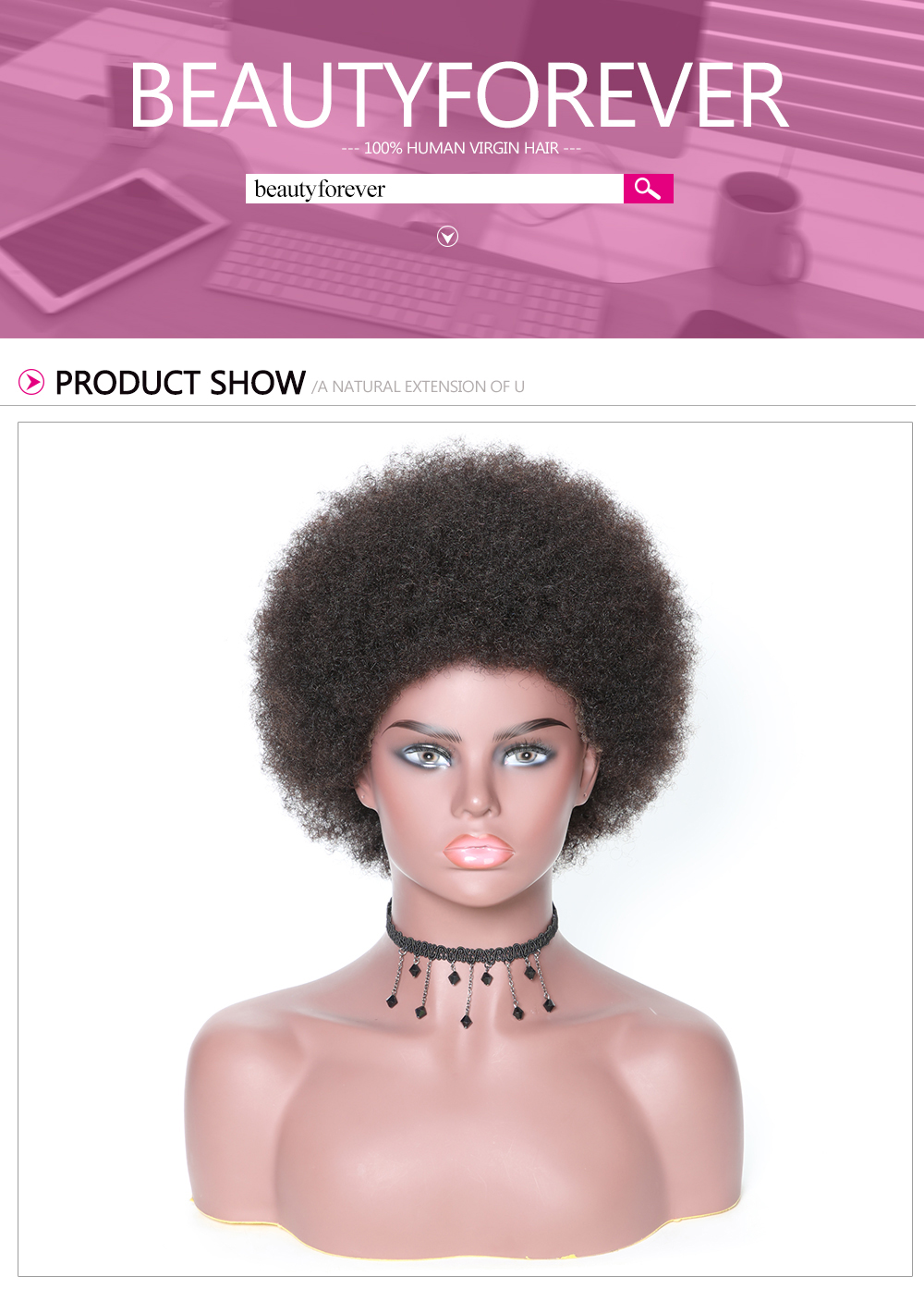 Beautyforever Lace Front Short Human Hair Curly Afro Wigs On Sale