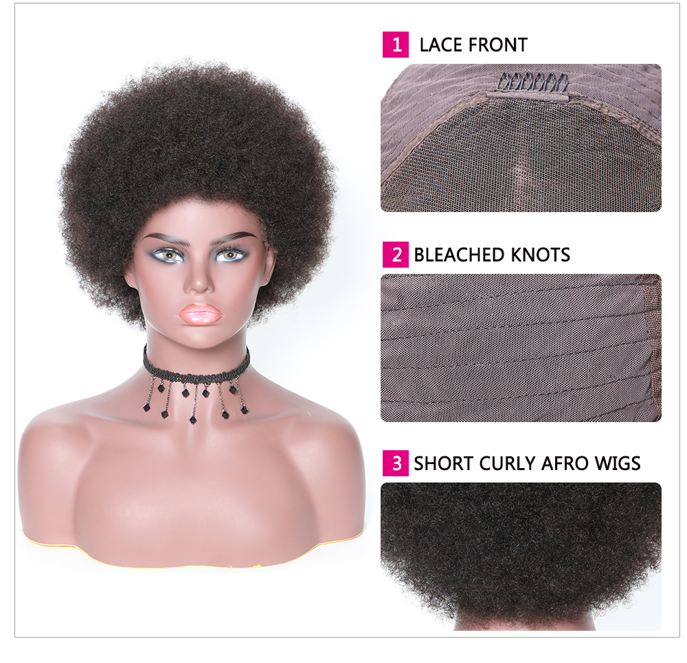 Lace Front Short Human Hair Curly Afro Wigs