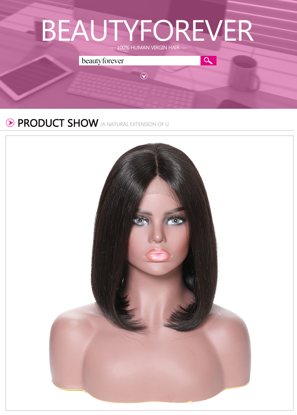 Lace Front Shoulder Length Bob 150% Density Human Hair Wigs