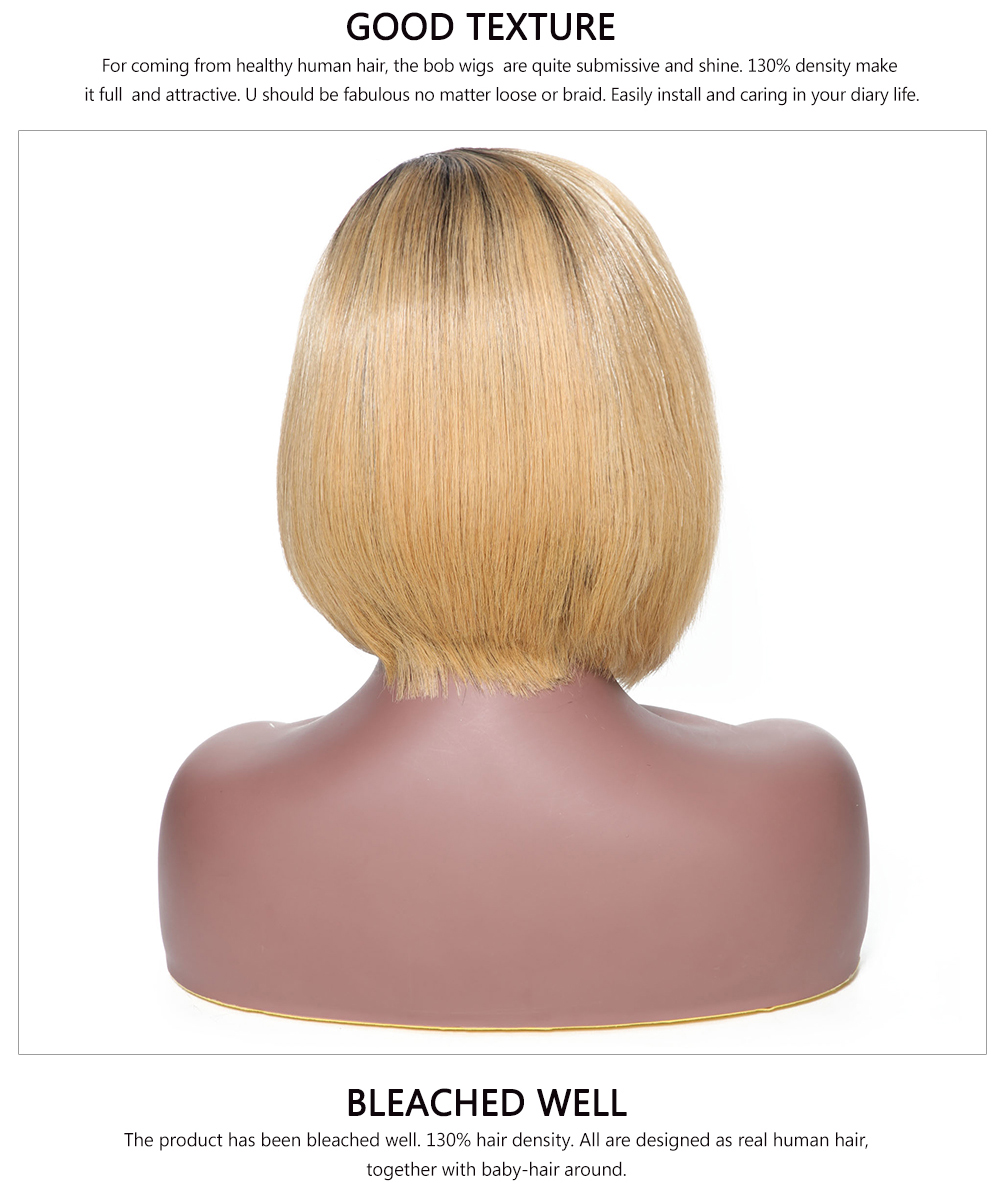 Lace Front Blonde Ombre Color Short Bob Wig