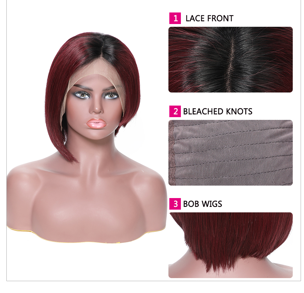 Lace Front T1B/99J Ombre Color Short Bob Human Hair Wig