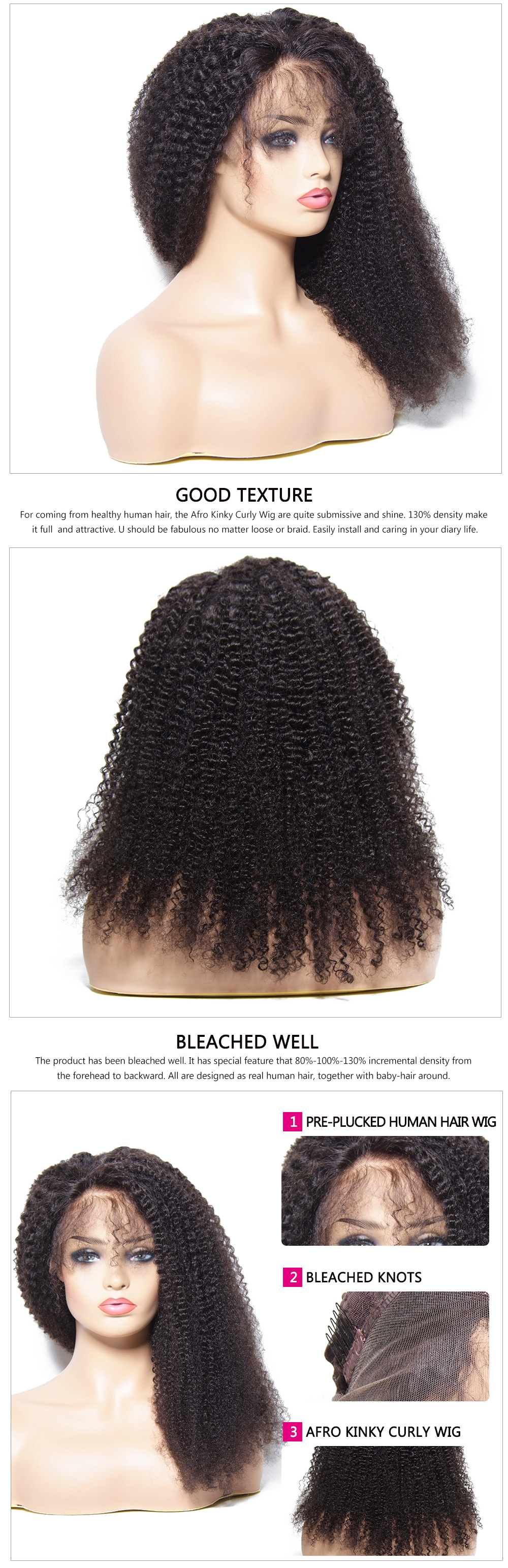Afro Kinky Curly Human Hair Wigs