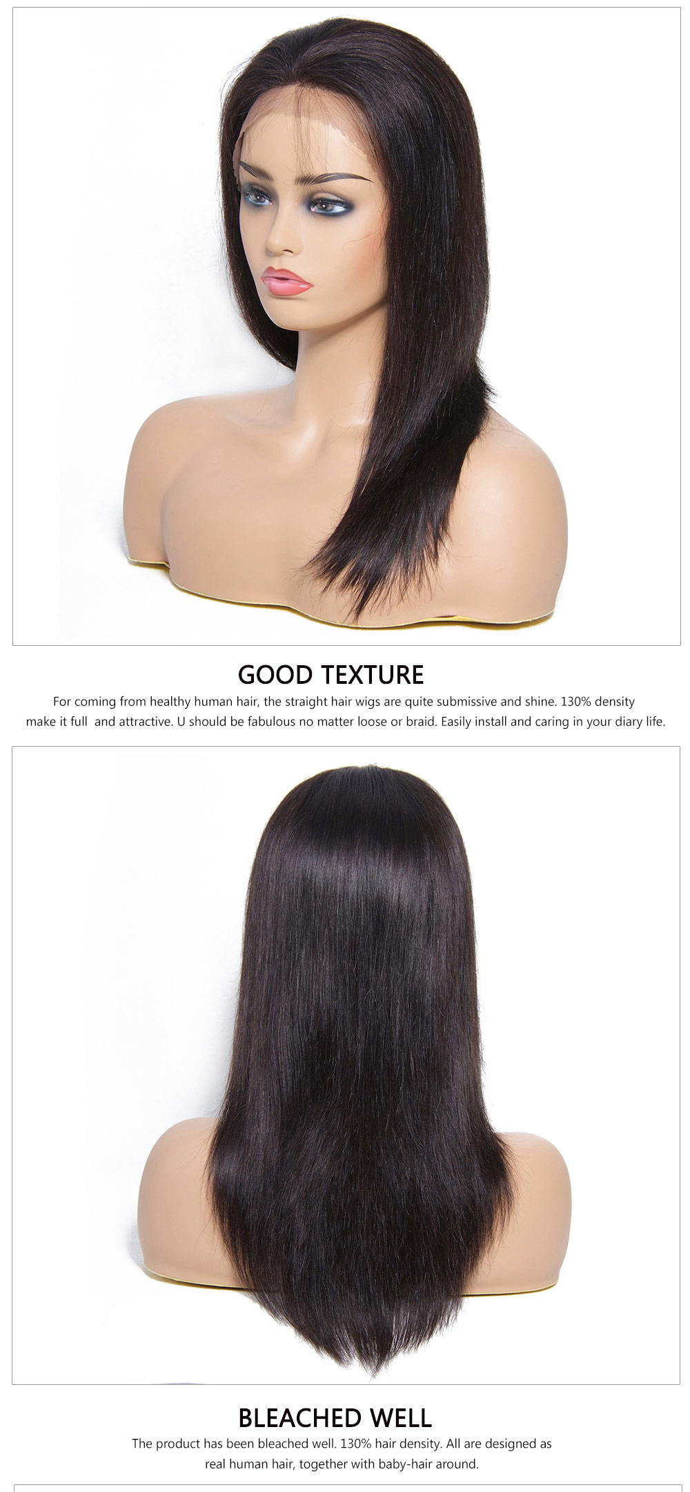 Straight Black Human Hair Wigs