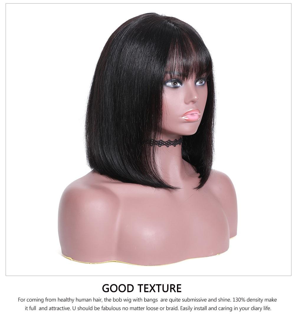 Wigs With Bangs Human Hair Bob Wigs
