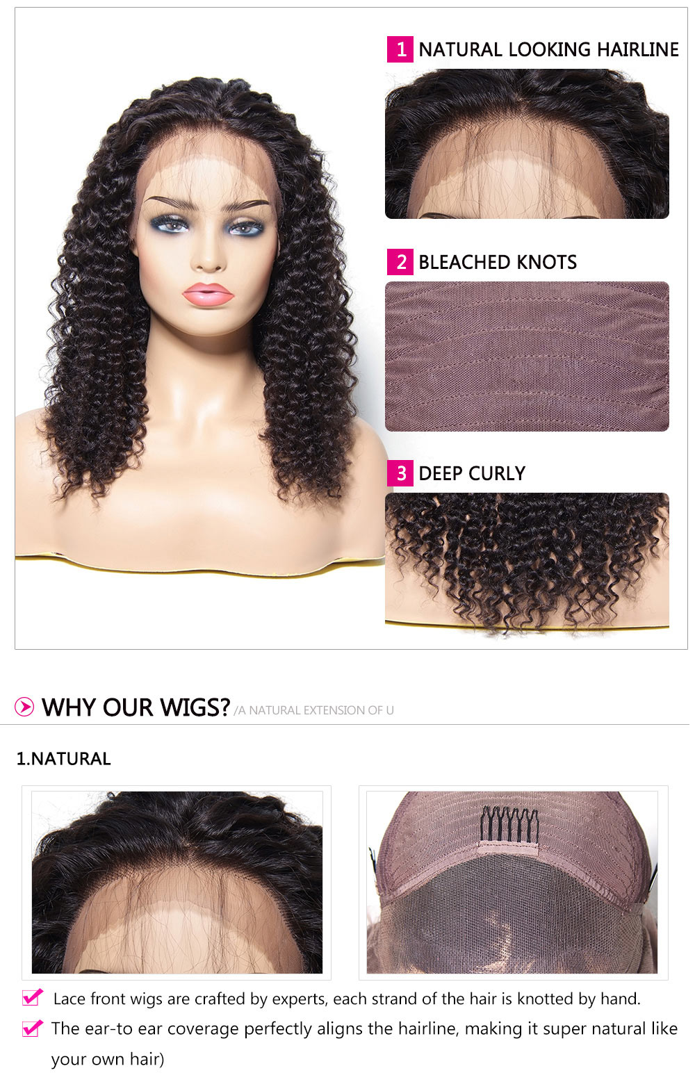 deep curly Wigs 4 Colors