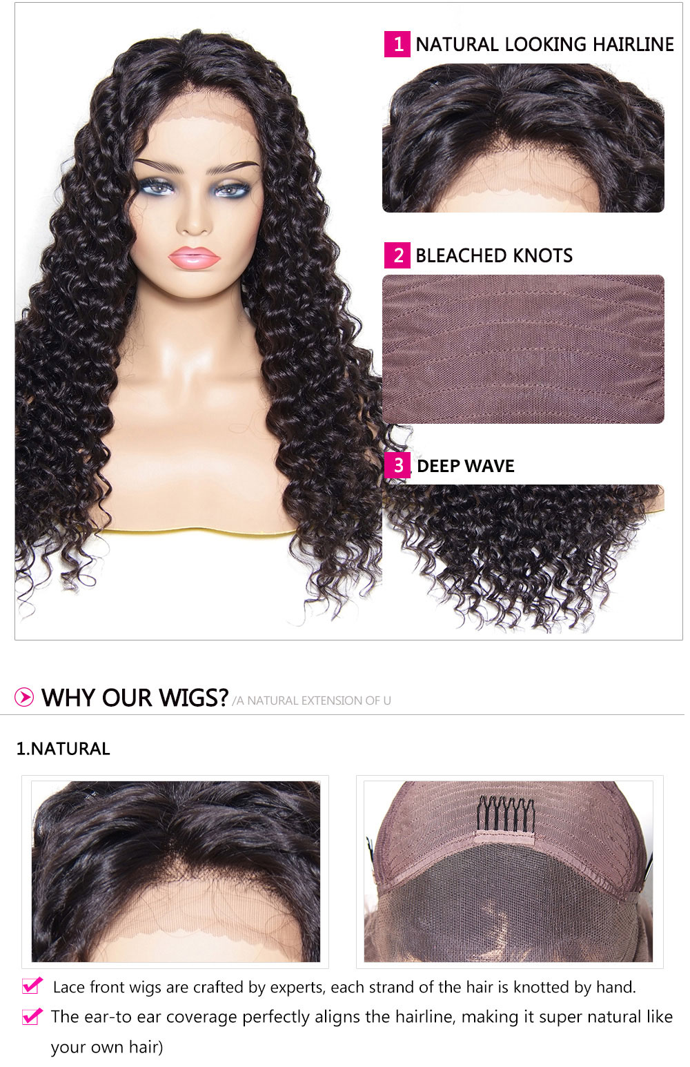 deep wave  Wigs 4 Colors