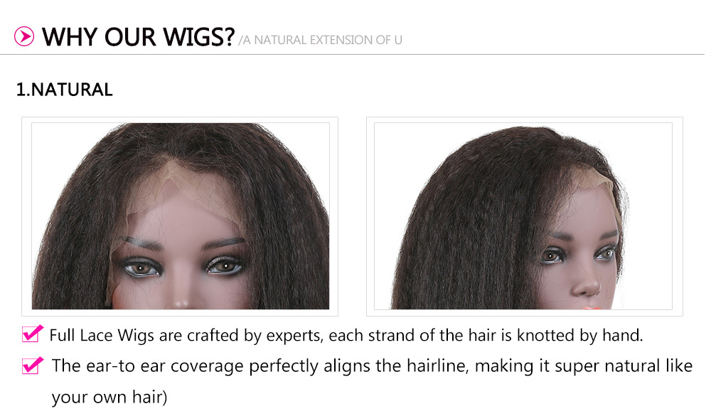 Kinky Straight 100% Human Hair Wigs