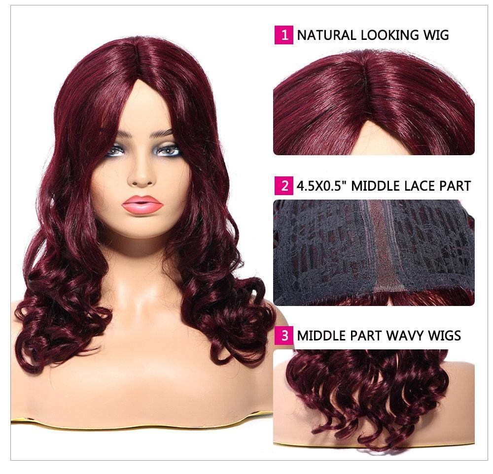 medium long body wave hair wig