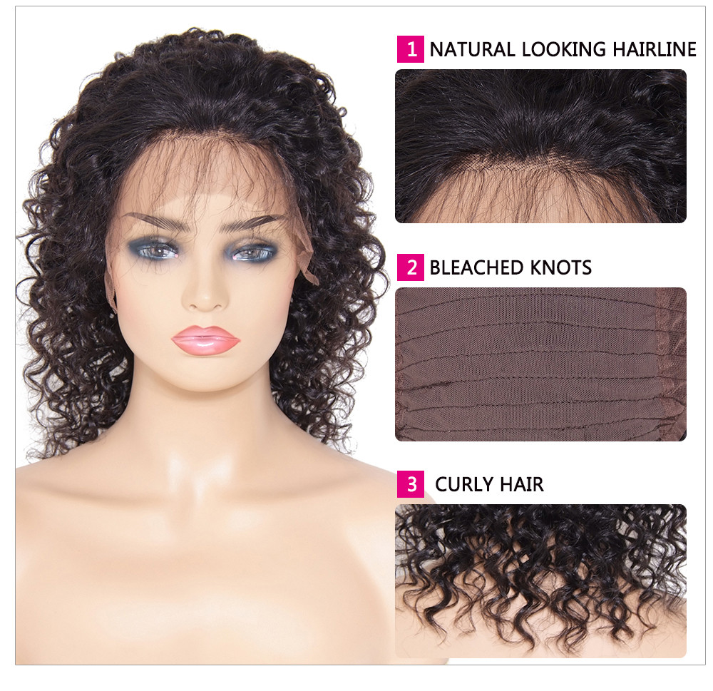Medium Long Curly Lace Front Human Hair Wigs