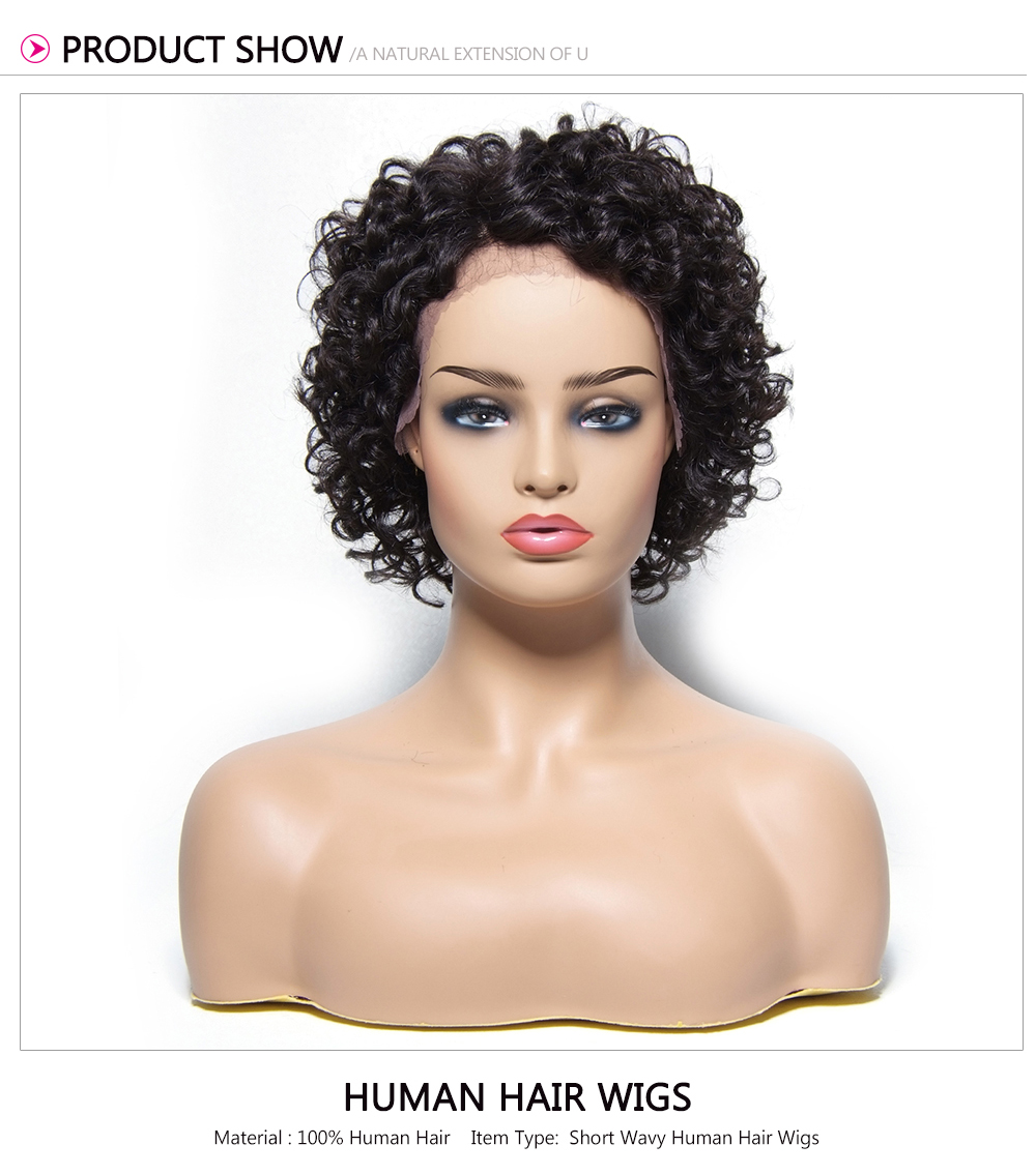 Beautyforever Short Curly Side Part Lace Front Human Hair Wig