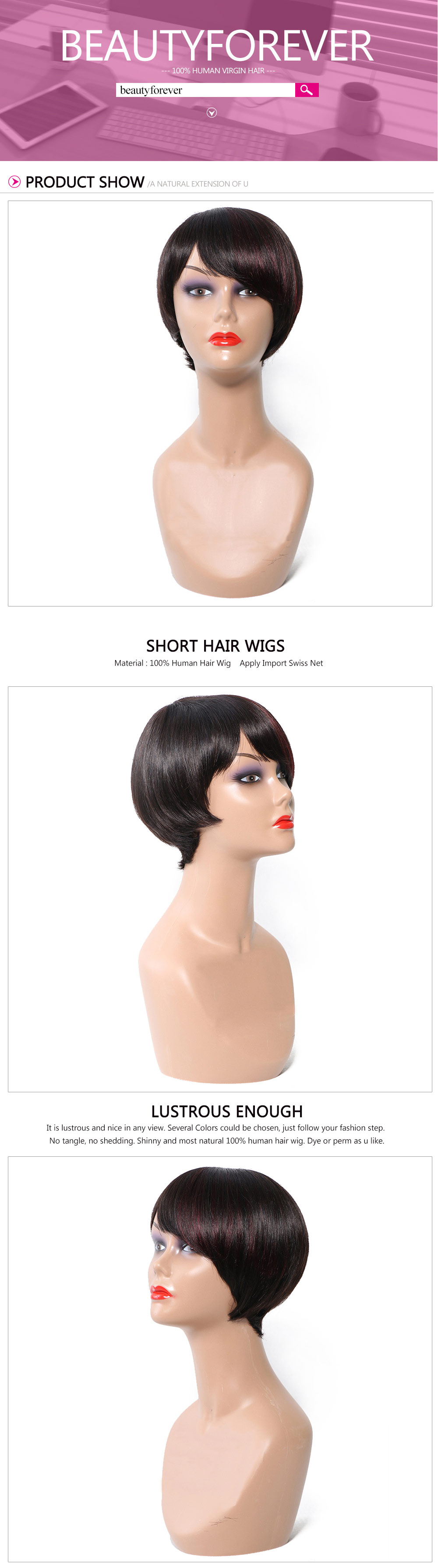 short hair wigs with bangs