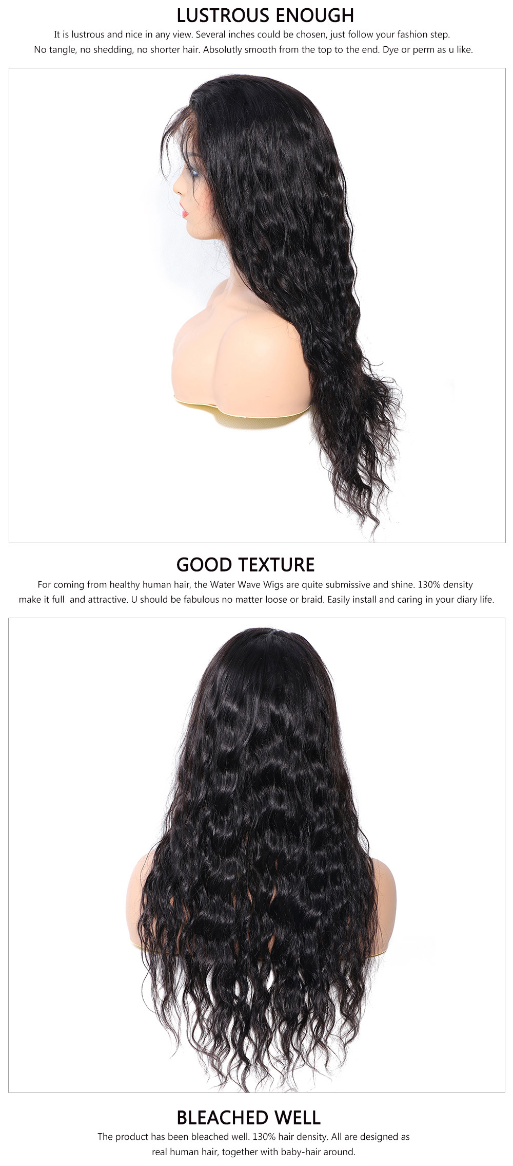 Pre-plucked Lace Front water Wave Wig