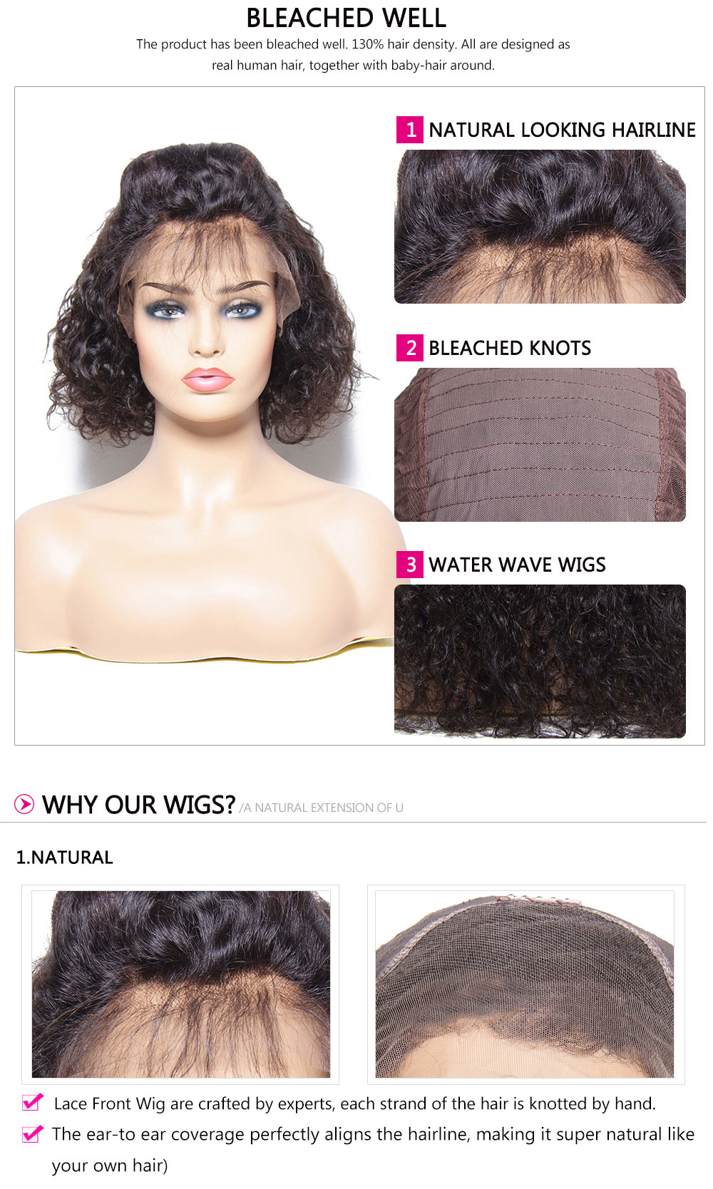 Water Wave Human Hair Lace Front Wigs 8-18inch