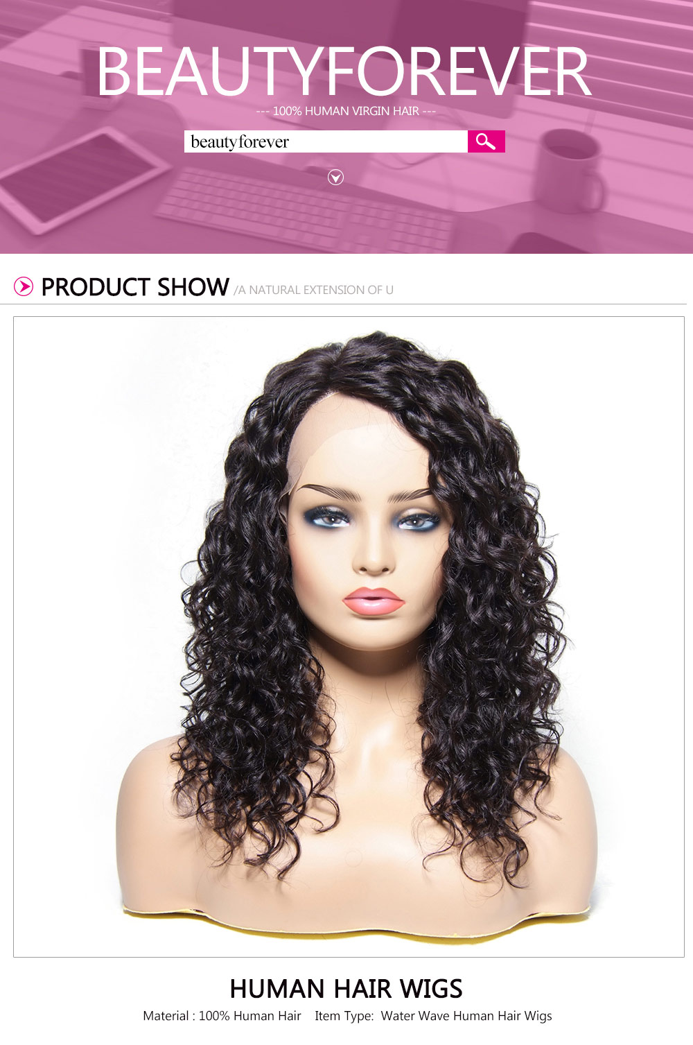 Water Wave Wavy Human Hair Wigs