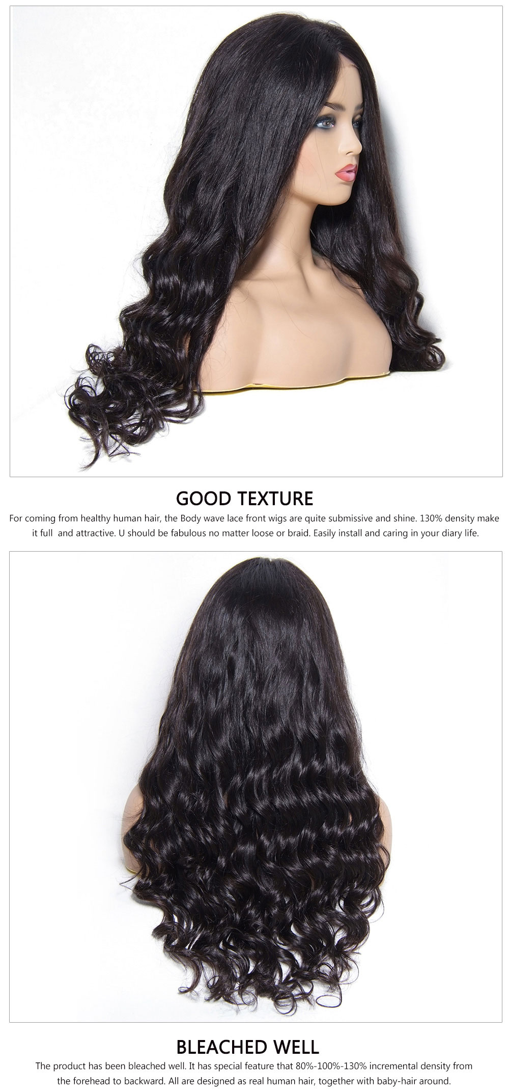 Long Wavy Lace Front Human Hair Wigs