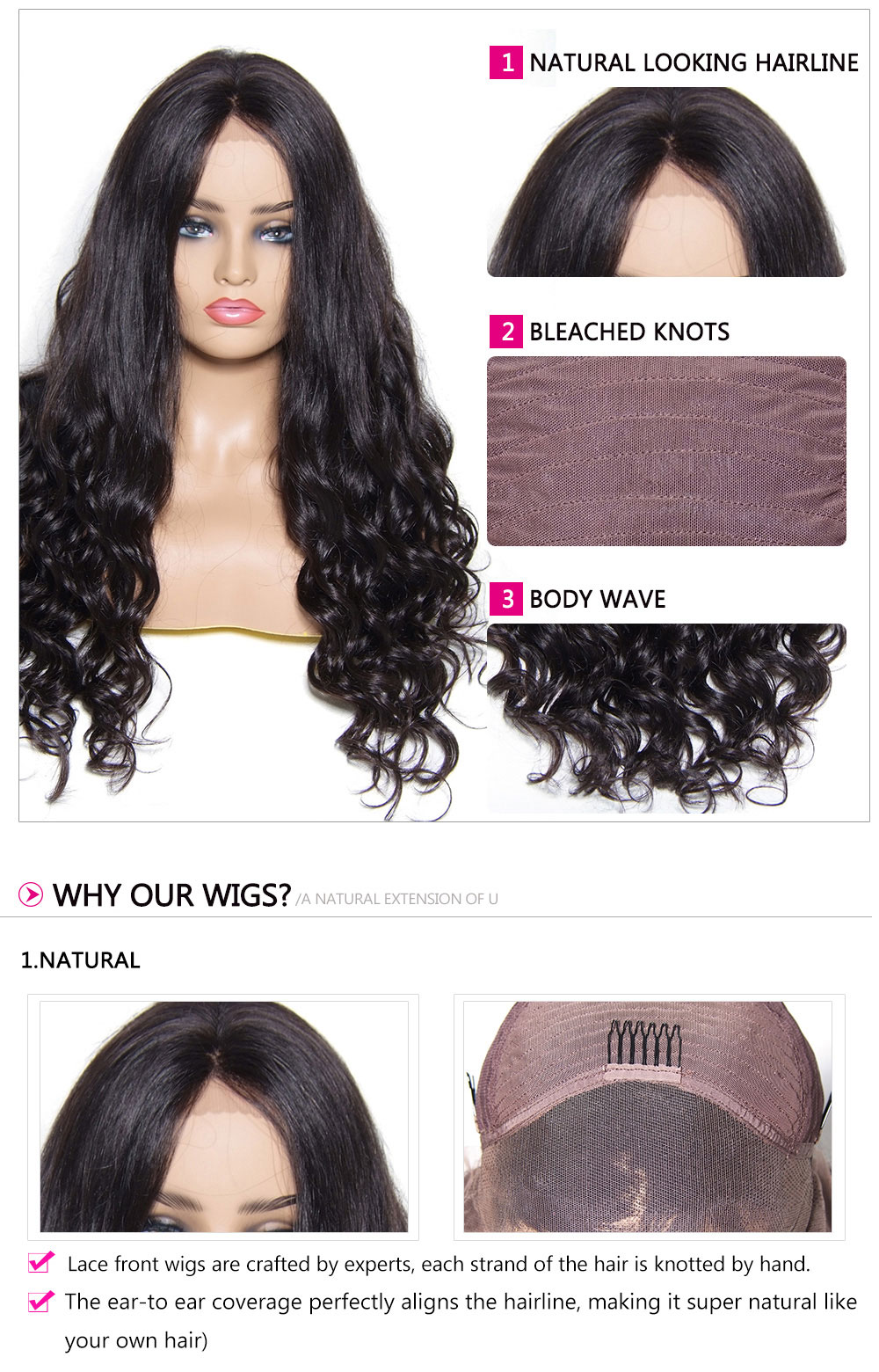 long Human Hair Wigs 4 Colors