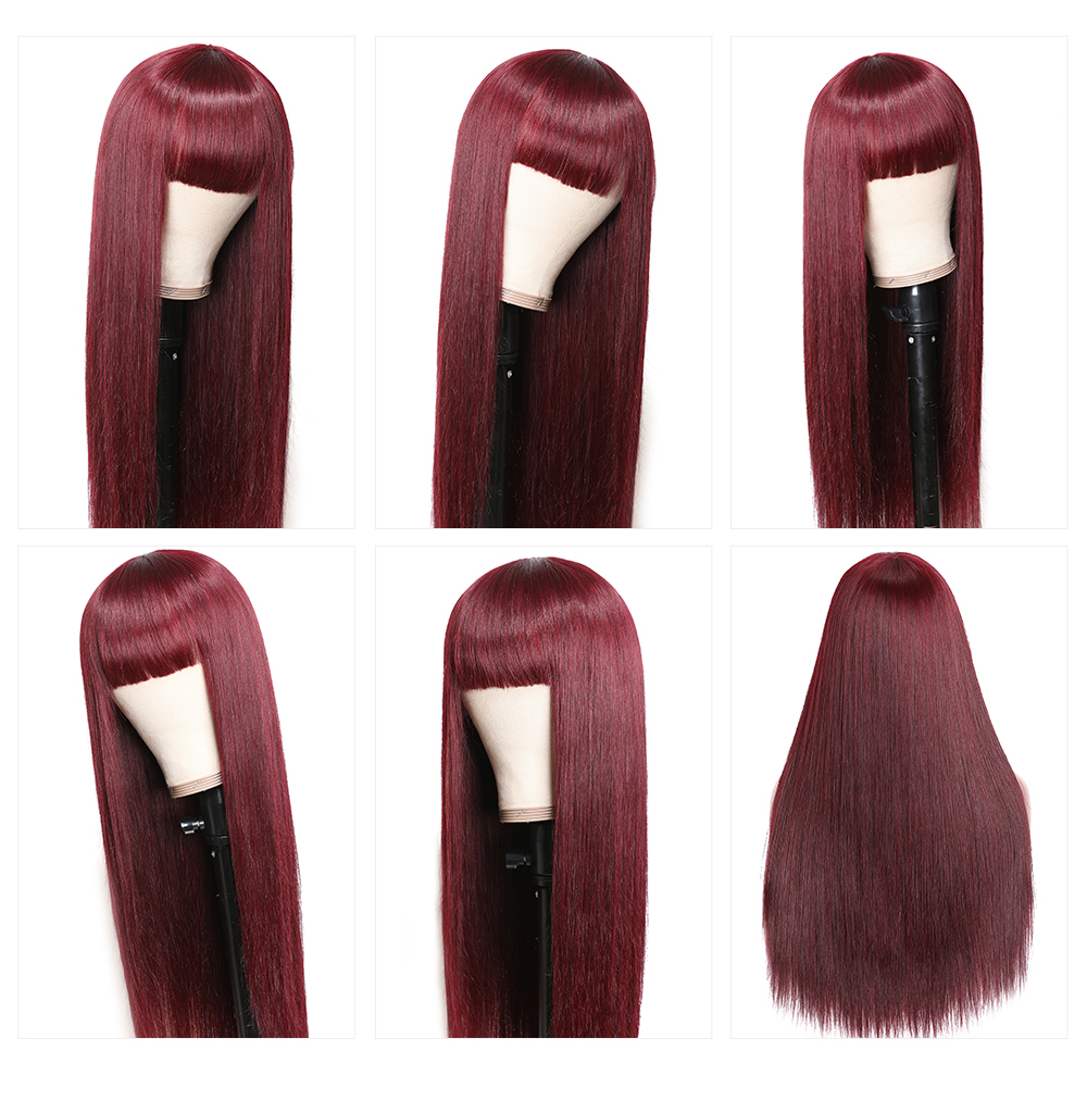 Red Color Glueless Non-Lace Human Hair Wigs