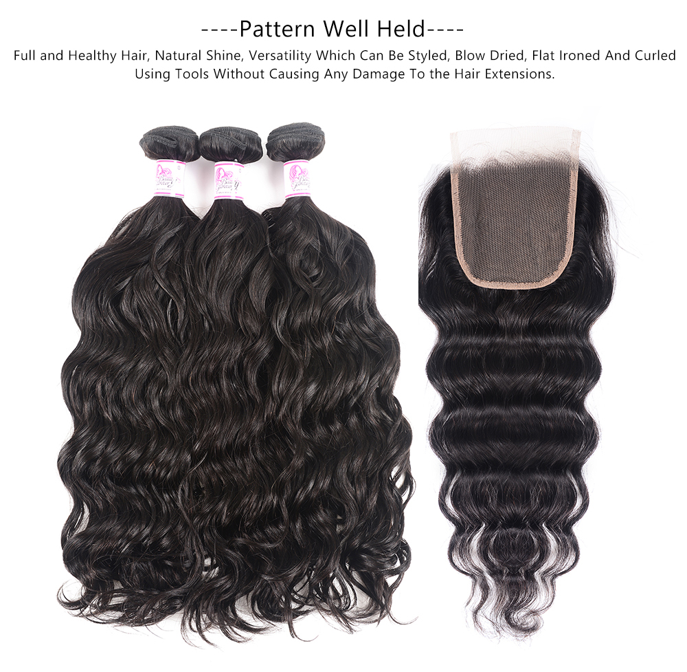 Natural Wave Bundles with lace closure