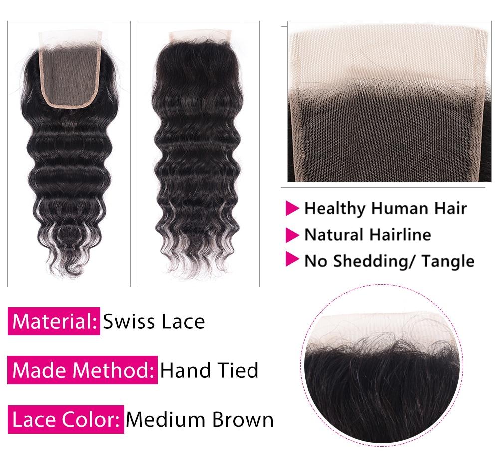 Natural Wave Bundles with lace closure