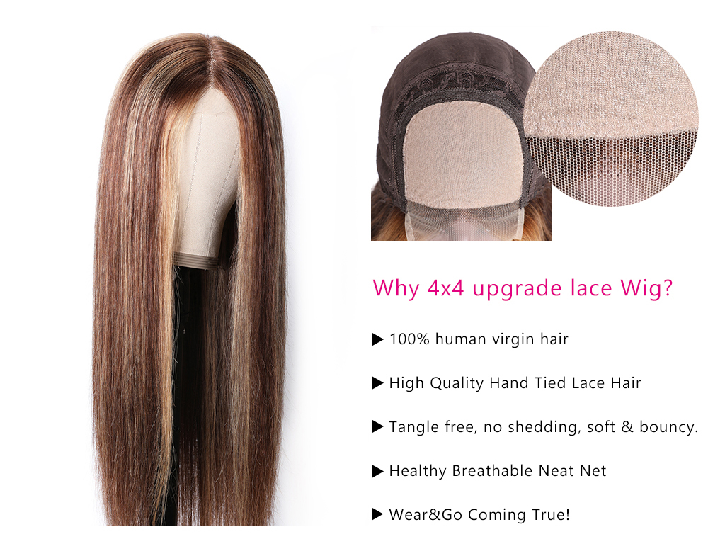 Blonde Highlight Piano Color Lace Part Wig