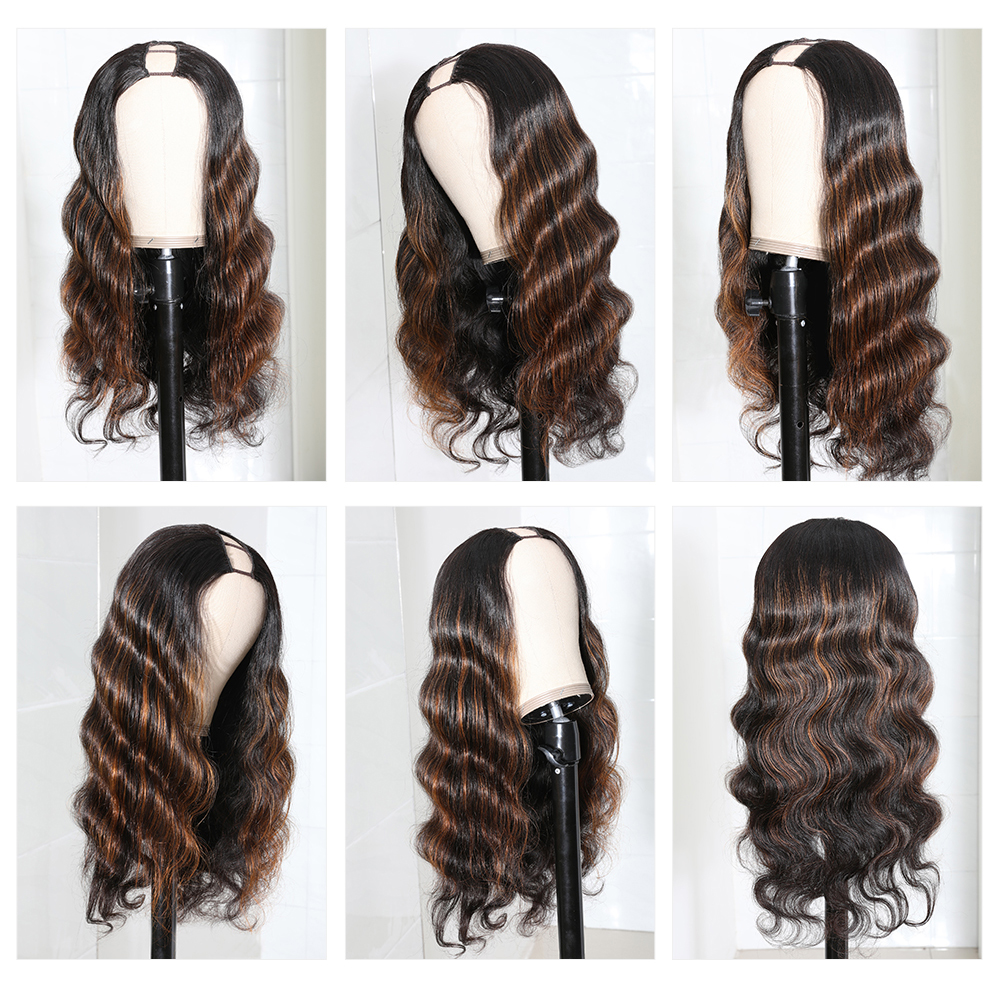 Brown Highlights Body Wave Wig