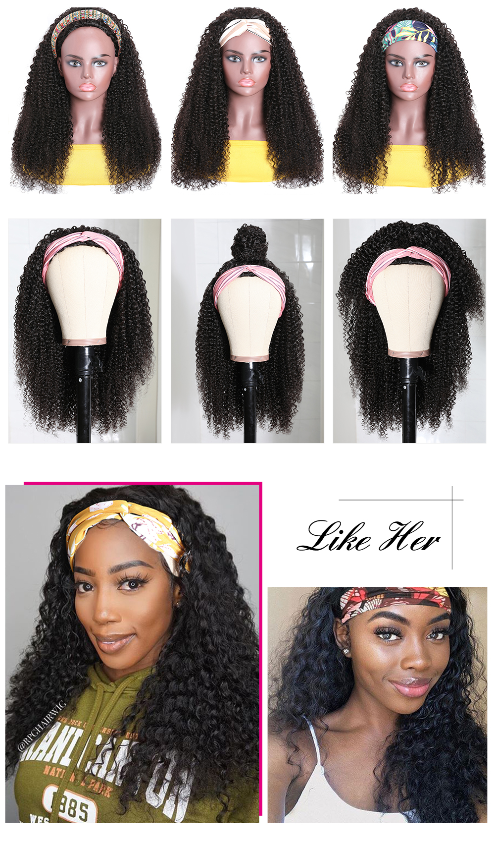 kinky curly head wig