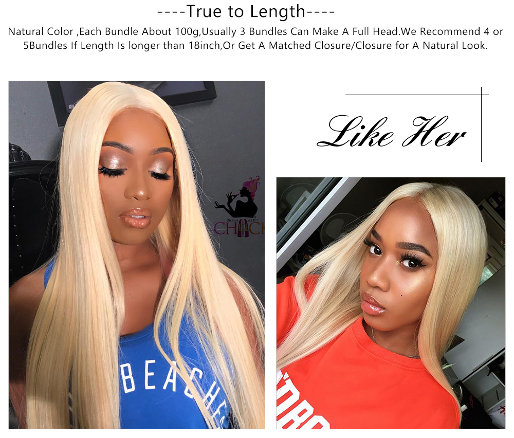 blonde straight hair bundles with lace frontal
