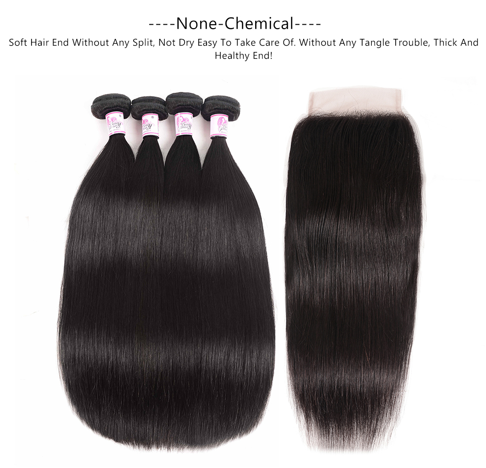 straight hair bundles with lace closure