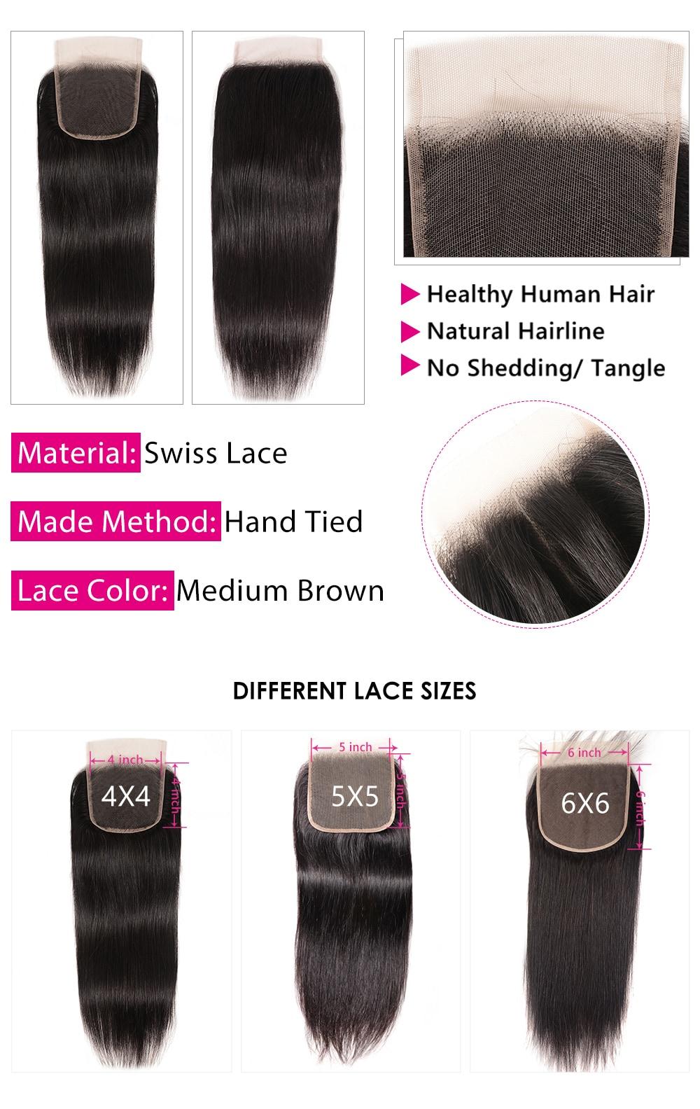 human hair bundles with lace closure